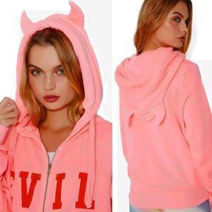 Wildfox Pink Evil Carta Devil Horns Zip Up Hoodie